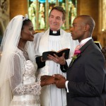 An African American couple getting married in a church